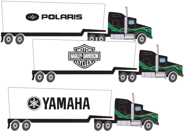 Some of Big Freights Client's; Harley Davidson, Polaris and Yamaha