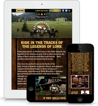 Rainbow Trout Ranch website shown on multiple devices